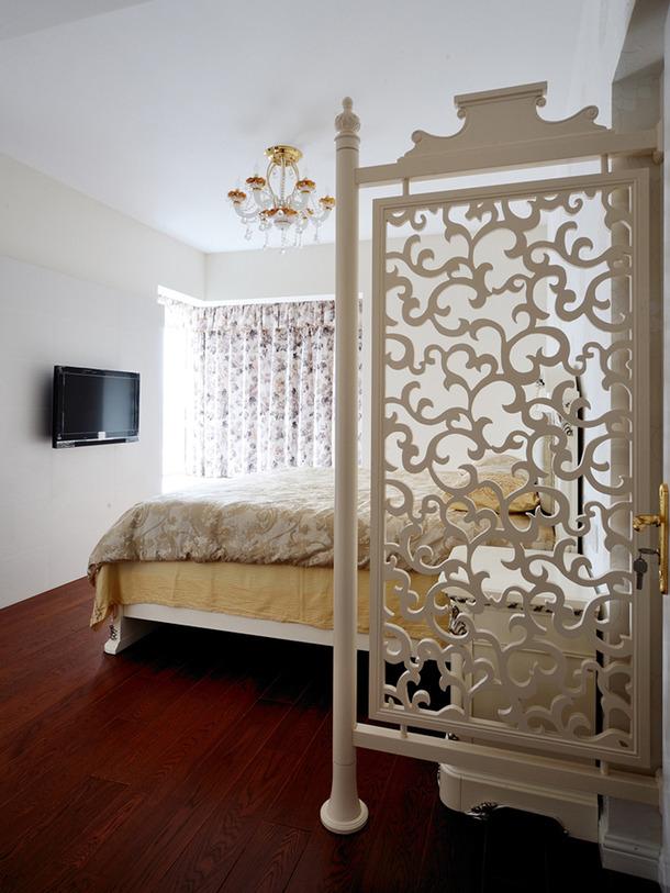 两居欧式风格家庭客厅卧室窗帘装修效果图-欧式风格