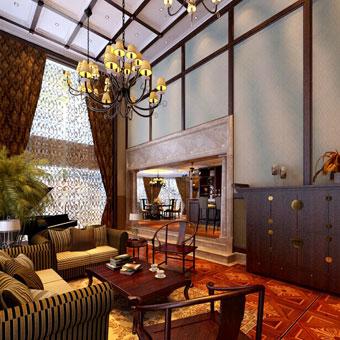 中式客厅高精密窗帘布艺