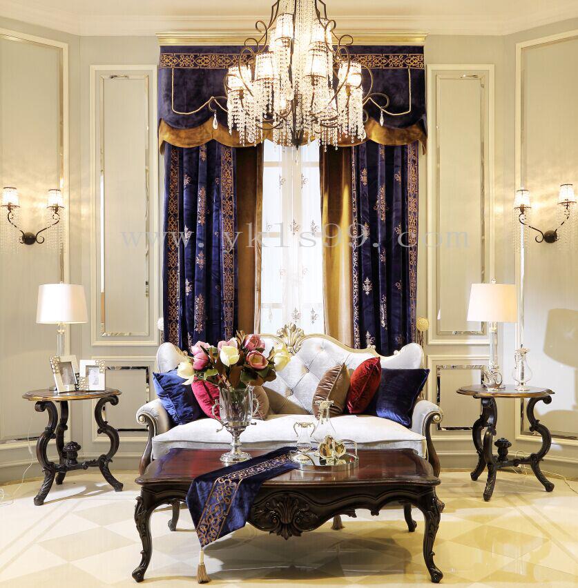 新古典别墅绒布窗帘