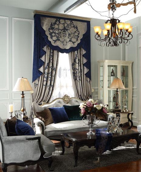高档欧式客厅绒布窗帘