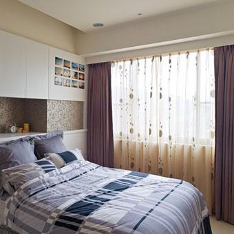 现代简约风格卧室全棉窗帘