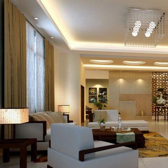 现代风格客厅全棉窗帘