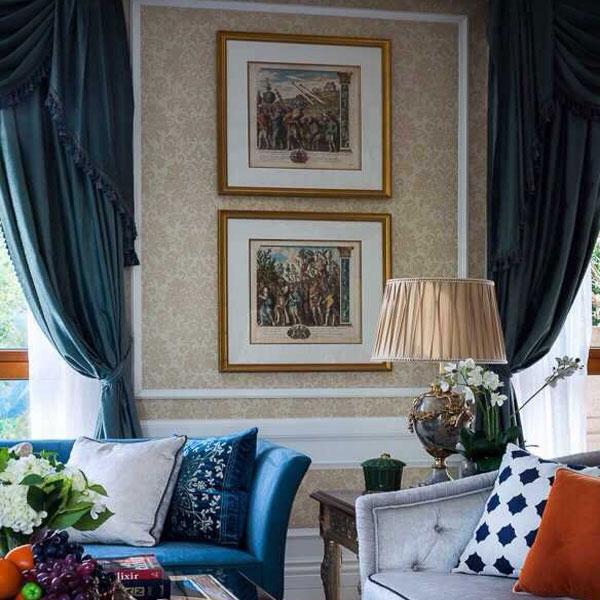 欧式巴洛克风格客厅绒布窗帘