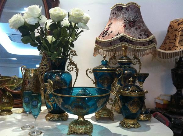 蓝色宫廷复古玻璃器皿套装