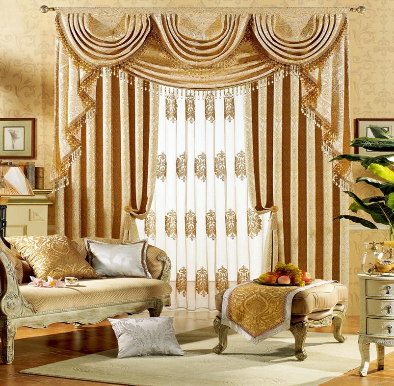 美式风格客厅绒布窗帘图片
