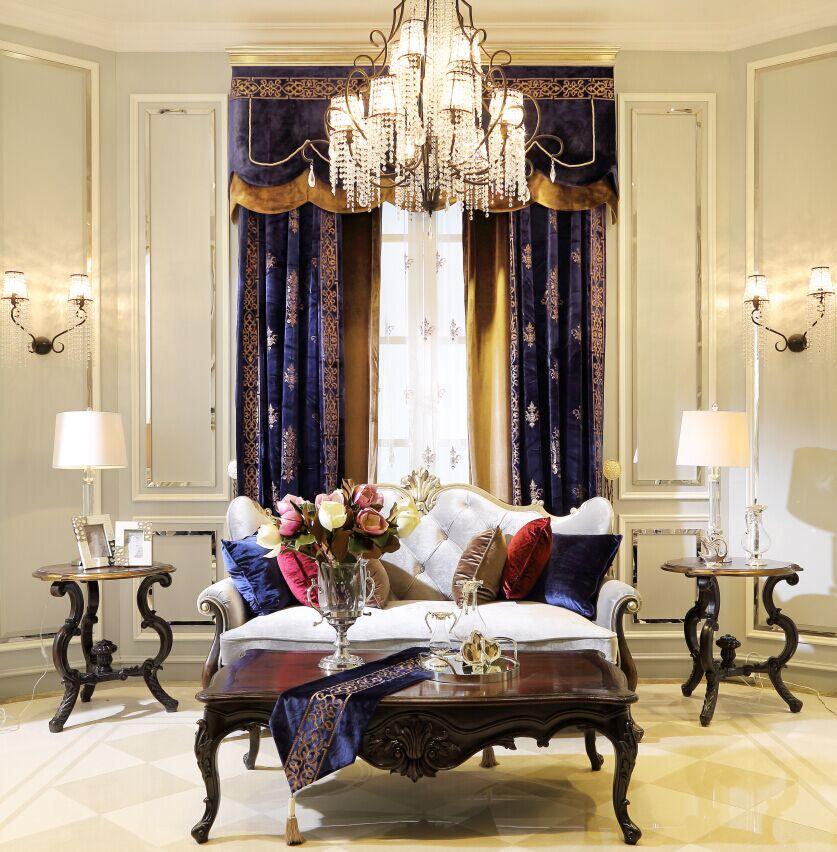 美式装修的素色绒布窗帘