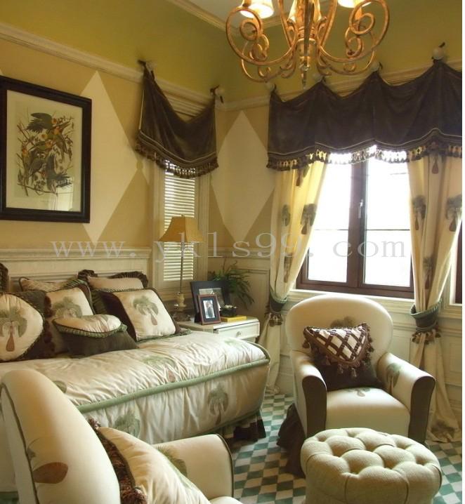 美式风格绒布窗帘