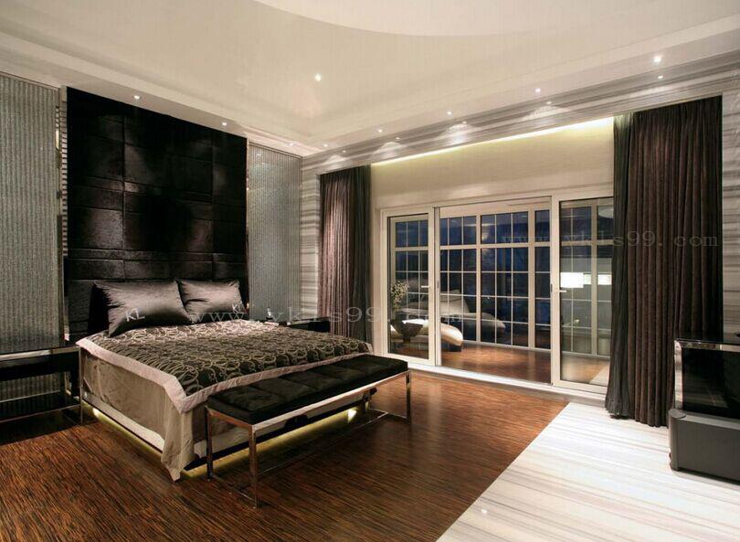 现代风格卧室绒布窗帘