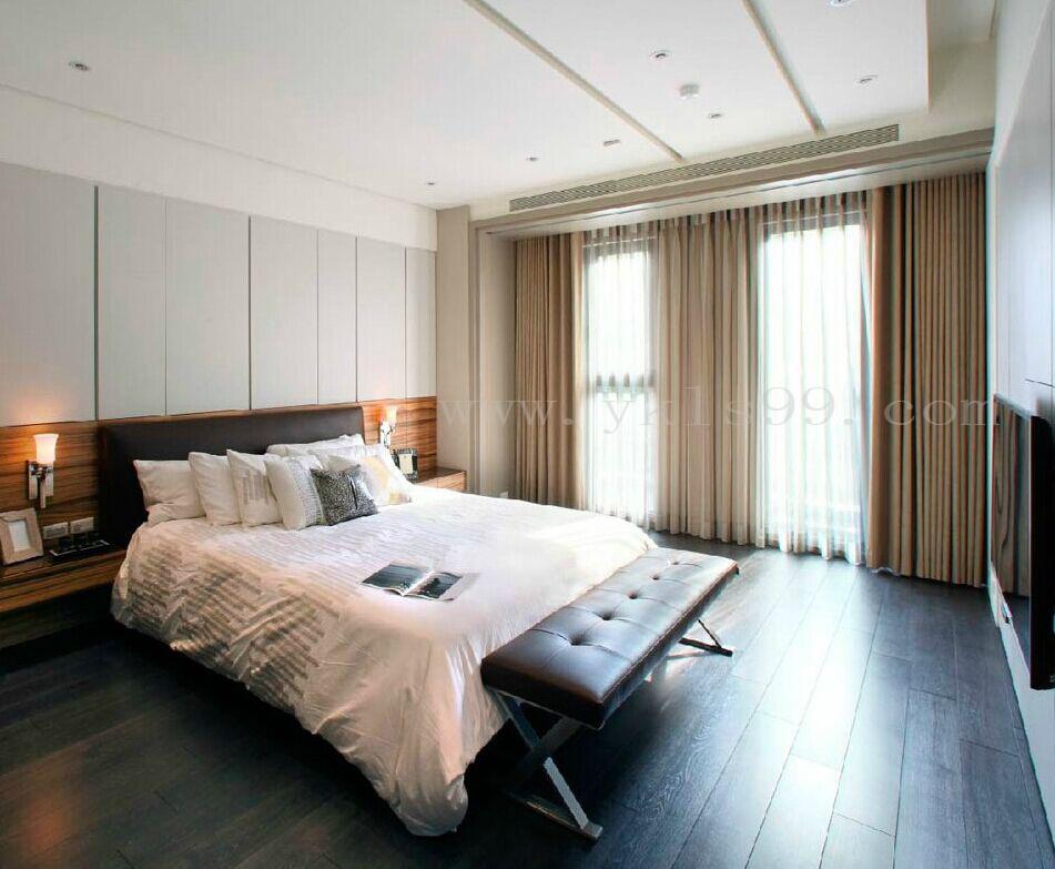 现代风格卧室全棉窗帘