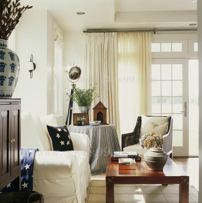 现代简约风格客厅全棉窗帘