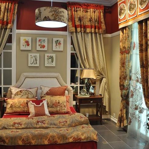 美式风格卧室提花窗帘