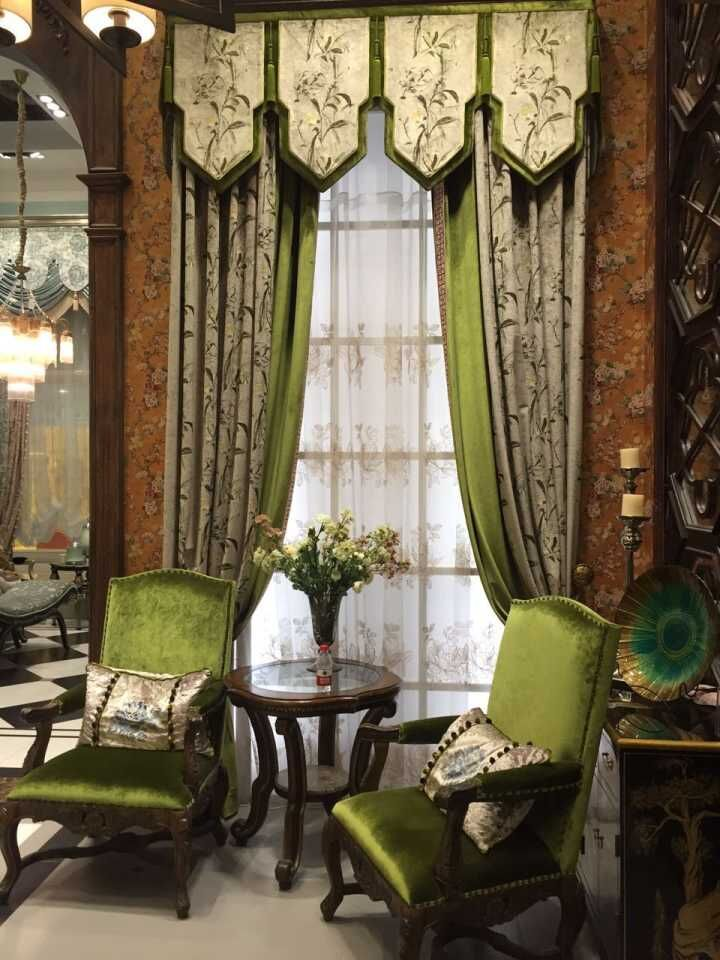 新中式风格布艺窗帘图片