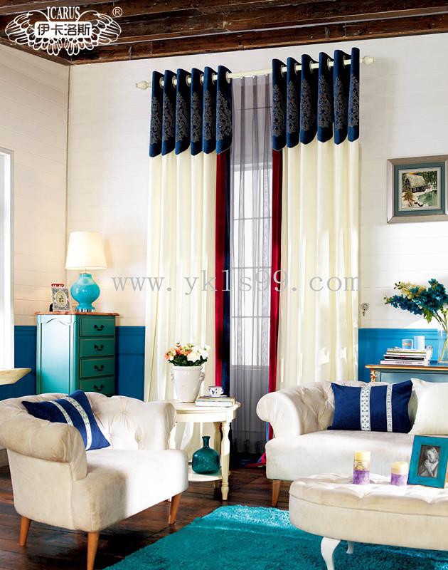 拼色新中式风格窗帘