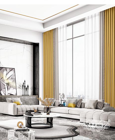 现代风格客厅高精密窗帘