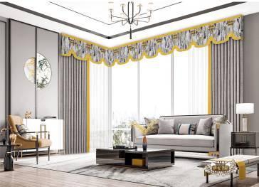 新中式    客厅窗帘